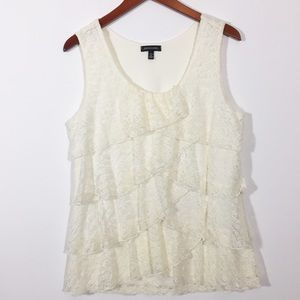 Notations Tiered Front Lace Tank Top Lined Size L